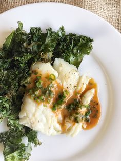 Sriracha-Butter Cod with Garlicky Kale