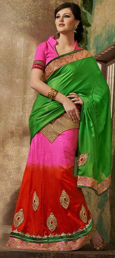 131796, Lehnga Style Bollywood Saree, Jacquard, Machine Embroidery, Resham, Patch, Zari, Border, Multicolor Color Family