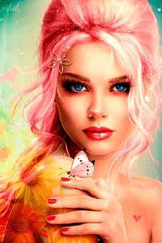 Анимация Красивая девушка с бабочкой на руке