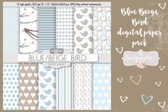 Blue beige bird digital paper pack by burlapandlace on Envato Elements Texture Design, Packing, Dots, Digital, Paper, Brown, Backgrounds, Scrapbooking, Nursery