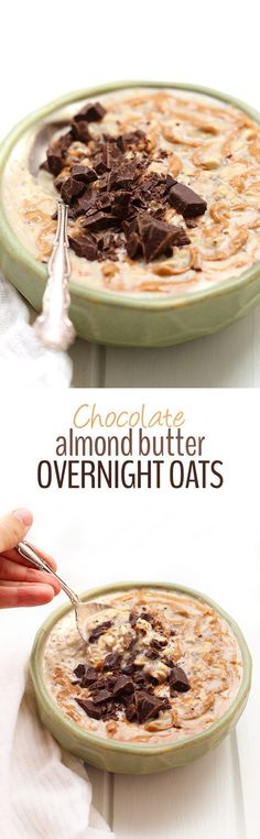 Chocolate Almond Butter Overnight Oats. Need an easy healthy breakfast recipe? Make these overnight oats that use all clean eating ingredients! Pin now to try later.