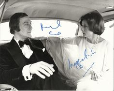 CALIFORNIA SUITE: Signed 10 x 8 photograph by both Oscar winning actors Michael Caine (Sidney Cochran) and Maggie Smith (Diana Barrie) individually, the image depicting the actors seated in three quarter length poses together in the back of a limousine en route to the Academy Award ceremonies following Barrie's nomination in a scene from the comedy film California Suite (1978). Smith won her Best Supporting Actress Academy Award for her performance in this film.