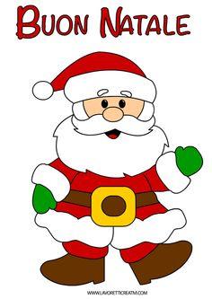 Disegno di Babbo Natale con la scritta Buon Natale nella versione colorata e nella versione in bianco e nero da colorare.