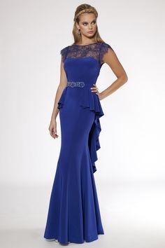 royal blue dresses | Silk Peplum Royal Blue Gown item 39078