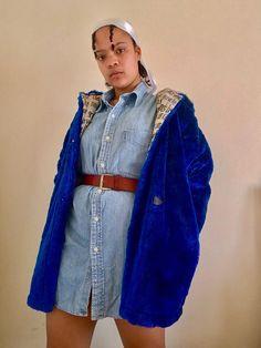 Blue Faux Fur  #thriftsouthafrica #vintage #retro #bluecoat #nostalgicphilia #retrofashion #aesthetic #vintageaesthetic Retro Jackets, Blue Coats, Retro Fashion, Thrifting, Faux Fur, Denim, Collection, Vintage, Style