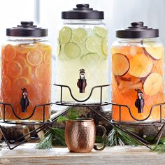 Try our Quilted Beverage Dispensers Set and please everyone on your guest list. Try tea, fruit infused water and a mulled wine for a classic holiday trio.