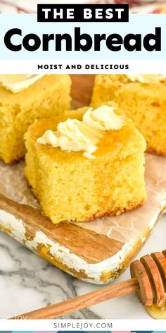This Cornbread recipe was tested and retested to perfection! It has the perfect taste and texture, and it is so easy to make. Homemade Cornbread, Sweet Cornbread, Moist Cornbread, Cornbread Recipes, 13 Desserts, Poblano, Sweet Bread, Coffee Cake, Cooking Recipes