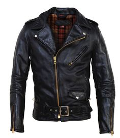 Schott - black vintaged leather motorcycle jacket with brass zippers
