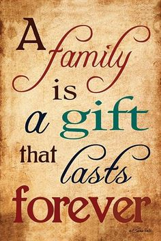 A Family Is A Gift That Lasts Forever - Block Mounted Inspirational Message Board from Earth Homewares