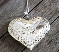 Coeur edelweiss metal argent-