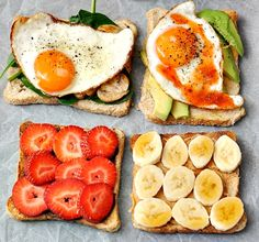 all the things that you should eat. healthy breakfast lunch and snacks. The one on the top right is delicious! I have that alot of mornings, minus the hot sauce. Think Food, I Love Food, Healthy Snacks, Healthy Eating, Healthy Recipes, Diet Recipes, Healthy Breakfasts, Recipes Dinner, Dinner Ideas