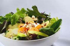 Side Salad, Mixed Greens, mandarin oranges, apple slices, goat cheese, and chopped pecans - DELISH!