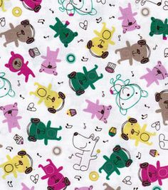 Novelty Cotton Prints-Multi Bears On White