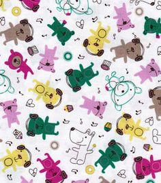 Novelty Cotton Prints-Multi Bears On White