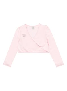 Add some ballerina stylings to her wardrobe with this pink wrap cardigan. Styled in a soft jersey fabric, this long-sleeved cardigan has a wrap front and v-neckline and looks great over plain tees with leggings, or partnered up with a matching tutu skirt for the dance studio.<br /><ul><li>Girls pink ballet cardigan</li><li>Long-sleeved</li><li>Wrap front, v-neck</li><li>Keep away from fire</li></ul>