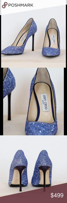 7c3b157e53f7 Jimmy Choo Romy glitter pumps sz 8.5 Amazing glitter Jimmy Choo shoe with  navy heel.
