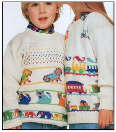 Train and animal sweaters for kids knitting pattern.  www.yarnpassion.com