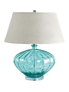 Blue Recycled Glass Fluted Urn Lamp