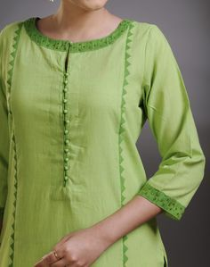 Cotton FabricLong KurtaApplique WorkPanelledBoat SleevesHand Wash Separately in Cold Water green colour kurta Neck Designs For Suits, Neckline Designs, Designs For Dresses, Dress Neck Designs, Salwar Pattern, Kurta Patterns, Simple Kurti Designs, Kurta Designs Women, Kurti Sleeves Design