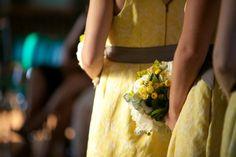 yellow and greay bridesmaid dress