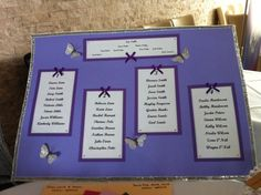 A2 lilac table plan with silver, purple and butterfly detail.