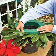 I know where to find some magnolia leaves :) - making a magnolia wreath, 15 in florist foam soaked in water All Things Christmas, Holiday Fun, Christmas Holidays, Christmas Crafts, Christmas Decorations, Xmas, Make A Christmas Wreath, Christmas Wreaths For Windows, Christmas Tables