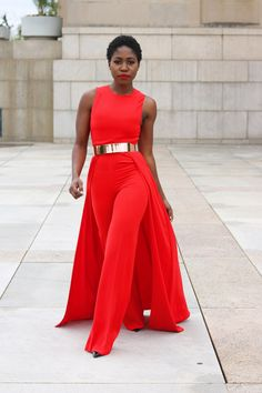 This look is very elegant and a undoubtable choice for a formal event especially if you want to stand out from the crowd. This vibrant red color adds sassand spice to the look.