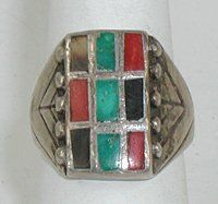 Antique vintage multi-stone inlay windowpane ring of Sterling Silver, turquoise, orange spiny oyster, acoma jet Zuni Jewelry, Antique Jewelry, Navajo, Turquoise Bracelet, Native American, Pottery, Group, Sterling Silver, Stone