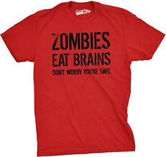 d3d5a6632 Mens Zombies Eat Brains Shirt Funny Zombie T shirts Living Dead Zombie  Outbreak Tees (Red