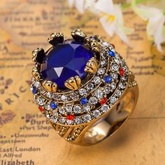 Royal Sapphire Blue Anel For Men Colar Masculino Turkey Turkish Jewelry Best Women's Vintage Aneis African Costume Jewelry Rings Like and Share if you agree! Get it here