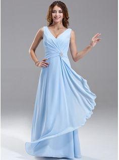 A-Line/Princess V-neck Floor-Length Chiffon Bridesmaid Dress With Beading Cascading Ruffles