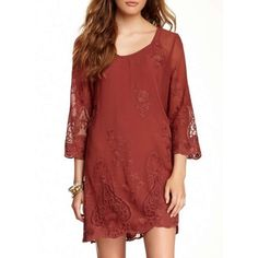 Layered lace dress. Lace and embroidered accents• Scoop neck• 3/4 length sleeves.(33.5 length) Monoreno Dresses