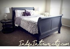 Distressed Black Queen Size Sleigh Bed by IndigoInteriors on Etsy Black Sleigh Beds, Sleigh Bed Painted, Painted Beds, Bedding Master Bedroom, Master Bedroom Makeover, Bedroom Decor, Bedroom Ideas, Farmhouse Sleigh Beds, Black Bedroom Furniture