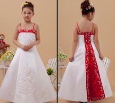 Red And White Satin Embroidery Bead Beach/Garden Wedding Formal Flower Girl Dresses Spaghetti Straps Custom Little Girls Party Gowns #dhgatePin