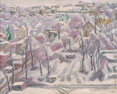 Ernest Zmeták: Pohľad z atelieru v zime:1971 Painting & Drawing, Cities, The Neighbourhood, Nostalgia, Street, Drawings, Winter, Art, Atelier