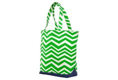 Kelly Green Chevron Canvas Tote Bags
