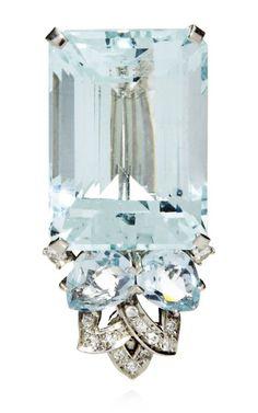 An Art Deco Cartier Aquamarine and Diamond Brooch