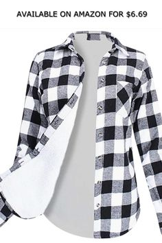 6338eef932c Womens Winter Flannel Plaid Button Top with Plush Lining Warm Shirt Coat ◇  AVAILABLE ON AMAZON