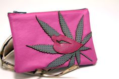 pot leaf pouch  i love you mary jane  grey by SnapDragonStyle, $25.00