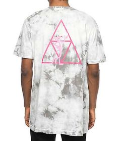 Well known for their versatility in collaborations, HUF teams up with Pink Panther to introduce to you the Triple Triangle Grey Tie Dye T-Shirt. Featured with HUF's iconic triple triangle logo emblem incorporated with the infamous Pink Panther for a blend Skate Clothing Brands, Triangle Logo, Tie Dye Designs, Pink Panthers, Tie Dye T Shirts, Huf, Menswear, Grey Tie, Clothing Ideas