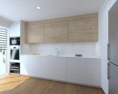 Modernidad y clasicismo en una cocina Kitchen Room Design, Modern Kitchen Design, Home Decor Kitchen, Kitchen Interior, Kitchen Walls, Kitchen Cabinets, Wood Interior Design, Kitchen Trends, Luxury Kitchens