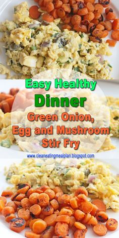 Healthy Dinner Recipe: Green Onion, Egg and Mushroom Stir Fry | Clean Eating Meal Plan | Easy and Cheap Healthy Meals | Weight Loss Meal Plan