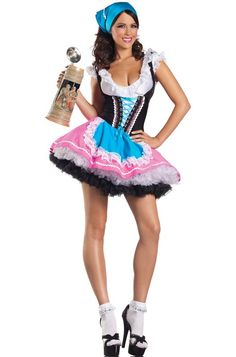 The Sexy Oktoberfest Beer costume is two piece set that features a puff sleeve dress with lace up front and blue attached apron and matching head piece. (beer stein not included.)