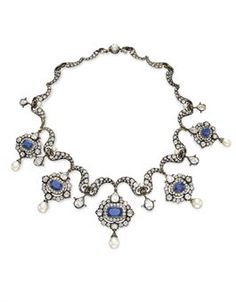 AN ANTIQUE DIAMOND, SAPPHIRE AND PEARL NECKLACE | Jewelry Auction | Jewelry, necklace | Christie's