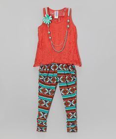 Coral Lace Tank Set - Toddler & Girls by Maya Fashion #zulily #zulilyfinds