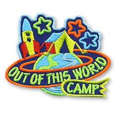 2 x 2 1/2 Inches **IRON-ON backing for easy & Snappy application** Use our Out Of This World CAMP fun patch to recognize the children in your youth group who attended a space themed campout. http://www.snappylogos.com/Out-of-this-world-CAMP-Fun-Patch/productinfo/3395/