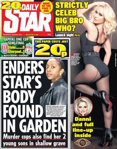 """Wednesday's Daily Star front page: Enders star's body found in garden Capital One, Daily Star, Lineup, Liverpool, Celebs, January 2016, Stars, Wednesday, Twitter"