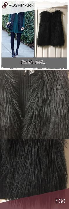 💥FINAL💥New Directions Black Faux Fur Vest NWT! New Directions Black Faux Fur & Sweater Vest. Gorgeous piece. Longer Fur knap. Back part us sweater. Acrylic/polyester blend. Can be worn so many different ways! new directions Jackets & Coats Vests