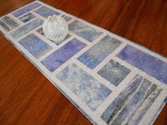 Quilted Christmas Table Runner with Trees and Snowflakes in Blue and Lavender, Winter Table Runner, Blue Purple and Gray, Quiltsy Handmade by SusiQuilts on Etsy