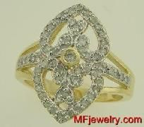 .50ct Diamond Right Hand Ring Cluster Ring 10kt Yellow Gold  $459.00